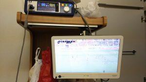 病室でテレビ観戦