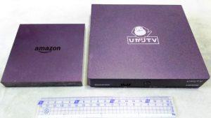 Amazon Fire TV(左)と ひかりTVセットアップBOX(右)